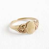 Antique Art Deco 10k Rose Gold Blank Signet Ring - Size 1 Baby Midi 1920s Swirl Initial Jewelry
