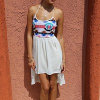 Flow Aztec High Low Dress- White