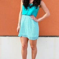 Sweetheart Chevron Dress in Jade