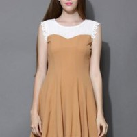 Tan color block skater dress