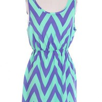 Cut me out in Chevron Dress - Aqua and Purple