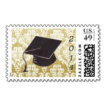 Gold Glitter Damask Graduation Cap Stamp
