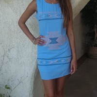 Aztec Embellished Dress - Periwinkle