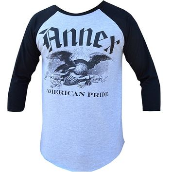 "Men's ""American Pride"" Baseball Shirt by Annex Clothing (Heather Grey/Black)"