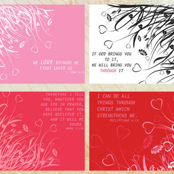 Digital Printable Inspirational Flourished Hearts Postcard/Notecard - (4 cards)