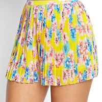 FOREVER 21 Daisy Print Pleated Shorts Yellow/Pink