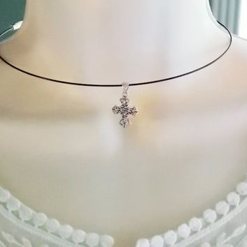 celtic cross choker   celtic cross necklace    sterling silver cross necklace  sterling silver celtic knot necklace