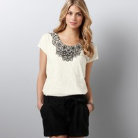 Black & White Lace Print Tee: New Arrivals: LOFT