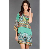 HD4785AVM Mint Scarf Print One Shoulder Dress and Womens Fashion Clothing  Shoes - Make Me Chic