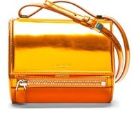 Metallic Orange Leather Pandora Box Mini Shoulder Bag