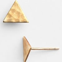 Baleen Hammered Brass Triangle Stud Earrings