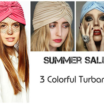 3 Colorful Turbans Head Wraps in Beige Pink and Blue