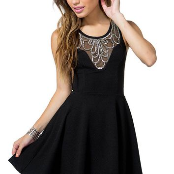 Beaded Bib Flare Dress