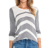 C&C California Chevron Stripe Sweater in Gray