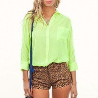 Split Lime Shirt | Bright Neon Tops | MessesOfDresses.com