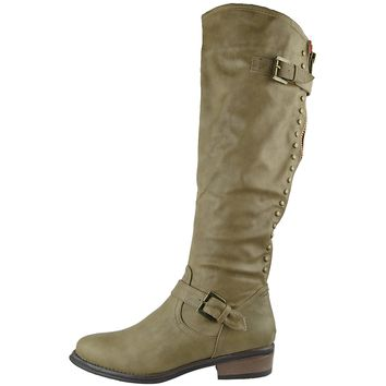 Womens Faux Leather Zip Accent Studded Knee High Riding Boots Taupe Size 5.5-10