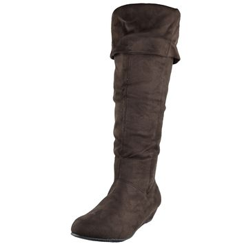Womens Casual Comfort Cuffed Knee High Flat Boots Brown Size 5.5-10
