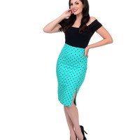 Mint & Black Polka Dot High Waist Pencil Skirt