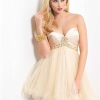 Short Sweetheart Neckline Empire waist with Beadings Knee Length Tulle Homecoming Dress PD1876