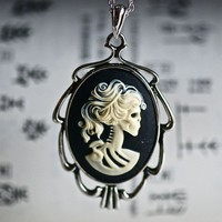 Miss Skeleton Grecian necklace  BLACK IVORY Cameo by grigiodesign