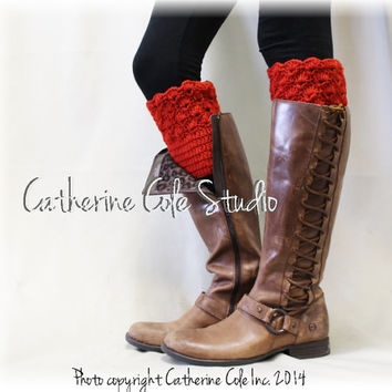 BOOTIE CUTIE in Radiant Red Handmade crochet boot toppers mini leg warmers knit boot hand made cuffs womens Catherine Cole Studio CC0