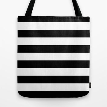 Stripe Black & White Tote Bag by BeautifulHomes | Society6