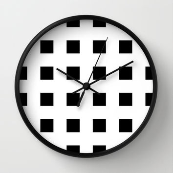 Cross Squares Black & White Wall Clock by BeautifulHomes | Society6