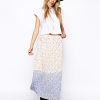 ASOS Reclaimed Vintage Pleated Skirt In Dip Dye