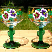 Hand Painted Margarita Glasses With Bright Flowers