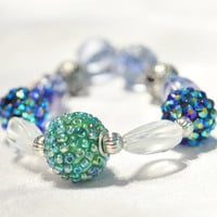 Bracelet, beaded, blues and greens with silver accents