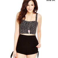 SOLID HIGH-WAISTED SIDE TIE SHORTS