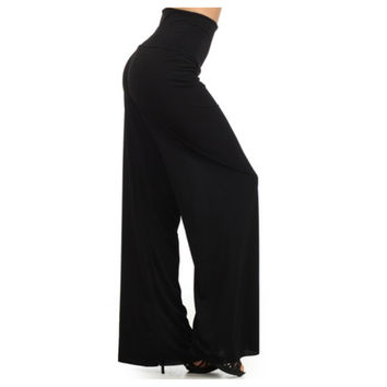 In Style Solid Black Palazzo Pants