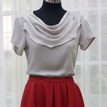 Grey Fall ruffle neck blouse -  Custom Sizing Available - ORTA13