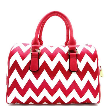 Thick Faux Leather Red/White Chevron Purse