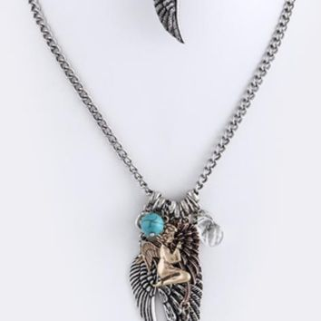 Antique Style Angel Wing Charm 20
