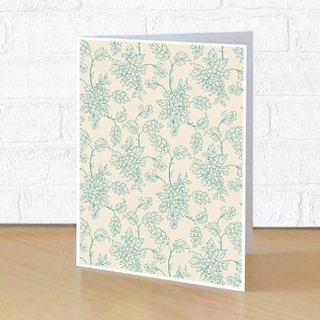 Blank greeting card for special event, Retro floral pattern card for her, 4x5 or 4x6 inches folded