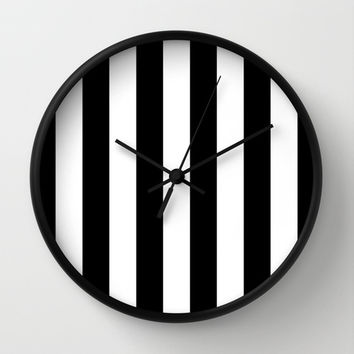 Stripe Black & White Wall Clock by BeautifulHomes | Society6