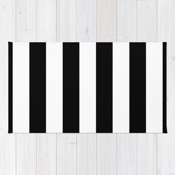 Stripe Black & White Area & Throw Rug by BeautifulHomes | Society6