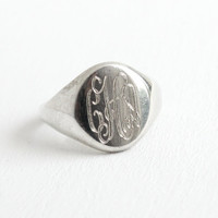 Vintage Sterling Silver Signet Ring - Size 8 Monogram Initial Jewelry with Fancy Script Letters CHA or CHN