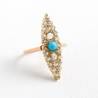 Antique Edwardian 9k Yellow Gold Rose Cut Diamond and Turquoise Navette Ring- Vintage Early 1900s Size 5 1/2 Fine Jewelry