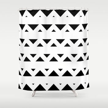 Tribal Triangles Black & White Shower Curtain by BeautifulHomes | Society6