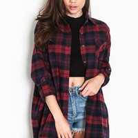 Oversized Plaid Flannel Shirt - LoveCulture