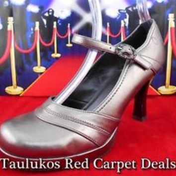 $50 Womens shoes Candies Stiletto High Heel Mary Janes Metallic Copper sz 7.5 M