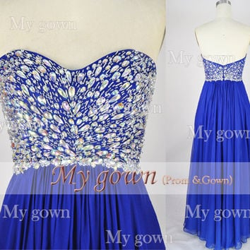 2014 Prom Dress,One Shoulder Draped Beading Chiffon Floor Length Dress,Evening Dress,Bridesmaid Dress,Formal Dress,Evening Gown