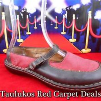 Womens shoes BORN comfy Mary Jane Slides Flats Red Brown LEATHER sz US 9 EU 40.5