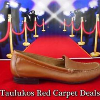 $69 Womens shoes NATURALIZER Brown LEATHER Moc-toe flats Slip-on Loafer sz 6 M