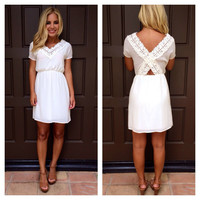 Halo Crochet Lace Detailed Dress - WHITE