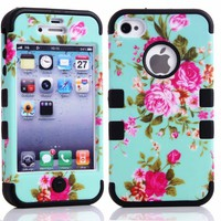 MagicSky Plastic + Silicone Tuff Dual Layer Hybrid Rose Flower On Green Case for Apple iPhone 4 4S 4G - 1 Pack - Retail Packaging - Black