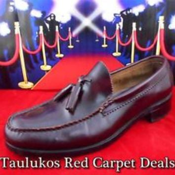 Mens shoes BASS KILTIE LOAFERS Tassel Dress Casual Slip-on Burgundy LEATHER 10 M