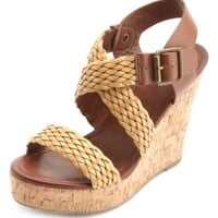 Two-Toned Braided Platform Wedge Sandals